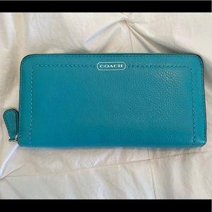 Coach leather zip around accordion wallet